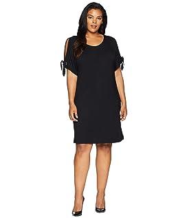 Plus Size Short Sleeve Dress w/ Tie Sleeve