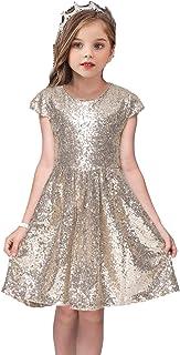 AmyStylish Little/Big Girls Shiny Sequins Flower Girl Birthday Party Performance Dress