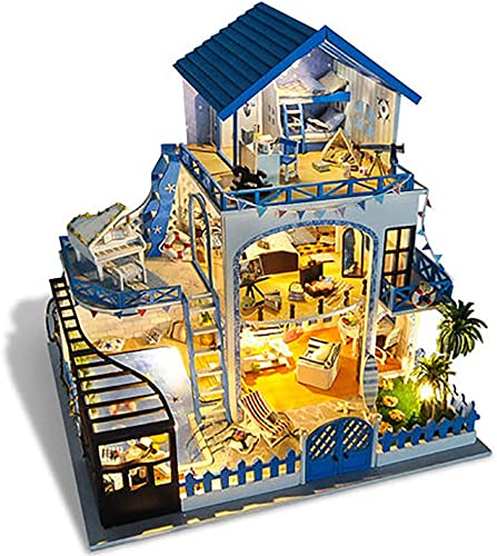 Dekompression Game, DIY Cabin Villa Aegean Handmade Small House Model Toy Assembled Creative Birthday Gift for Girl (Music Box, LED Light, Dust Cover)
