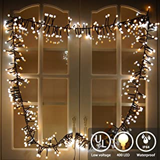 YMing LED String Lights 400 LEDs Room Decorative Lights - Indoor Outdoor String Lights - Globe String Lights - Season Decor Fairy Lights for Party Wedding Garden Holiday (Warm White + White)