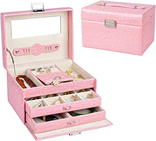 Lavie Princess Style Faux Leather 3 Layer Jewelry Box Jewelry Organizer Storage Display Case Built-in Big Mirror with Lock Travel Box Crocodile Pattern for Women Girl's Gifts (Pink)