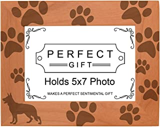 Gifts For All By Rachel Olevia Dog Lover Gift German Shepherd Paw Prints Natural Wood Engraved 5x7 Landscape Picture Frame Wood