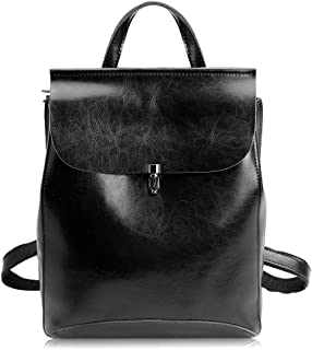 Zicac Women's Leather Backpack Casual Daypack (M, Black)