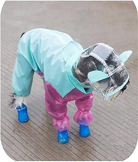 オーバーオール犬レインコート透明フードジャンプスーツDIY小型犬ペット防水服テディベア屋外レインコート-Overalls style-XS