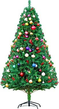 Dmyvtel 6ft Artificial Holiday Christmas Tree with Red Pine Cones,1000 Tips Full Tree ,55-65 Decorative Balls, Metal Hinges &
