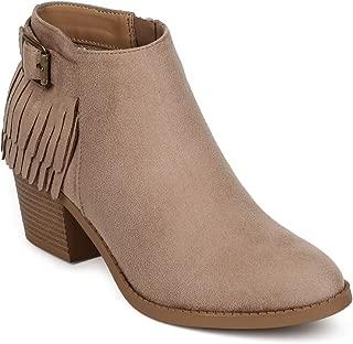 Women Suede Almond Toe Buckle Fringe Back Western Bootie EE63 - Clay