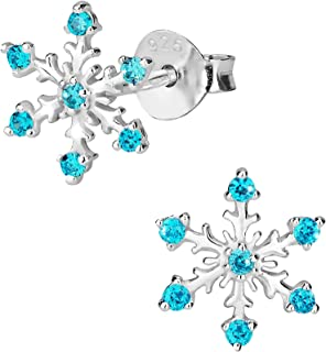Hypoallergenic Sterling Silver CZ Simulated Diamond Snowflake Jewelry for Kids