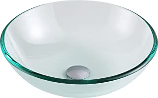 ANZZI Etude Modern Tempered Glass Vessel Bowl Sink in Clear | Top Mount Installation Bathroom Sinks above Counter | Round Vanity Countertop Sink Bowl | LS-AZ087