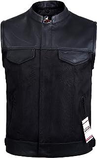 Lesa Collection Mens Codura Biker Waistcoat/Vest Black Real Leather Trim (6XL)