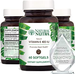 Natural Nutra d-Alpha Tocopherol Vitamin E 400 IU Supplement for Skin, Hair and Nails, Heart Health, Face Elasticity and S...