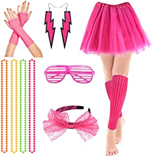 80s Fancy Party Costume Accessories Set,Adult Tutu Leg Warmers Fishnet Pink Gloves Neon Necklaces Bead 80s Lace Bow Headba...