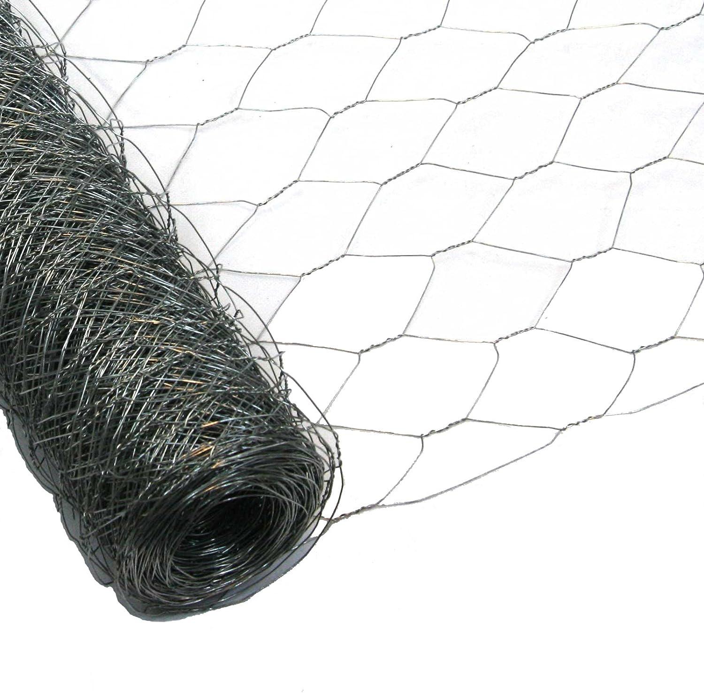 50cm, 25m Garmix Sechseckgeflecht Schwarz 13mm Kaninchendraht Hasendraht