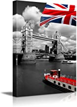 Canvas Prints Wall Art – Red Flag of England and Ship with Black and White London..