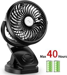 Stroller Fan Clip On Desk Fan 4400mAh Rechargeable Battery Operated USB Portable Personal Fan for Baby Stroller,Office,Home,Travel,Camping(Black)