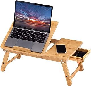 ノートパソコンデスク 竹製 ベッドテーブル ローテーブル 折りたたみ式 多機能 角度&高さ調節可能 収納付き ナチュラル (Drawer Type)