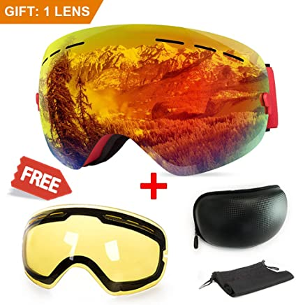 Extra Mile Ski Goggles, Anti-Fog UV Protection Winter Snow Sports Snowboard Goggles with Interchangeable Spherical Dual Lens for Men Women & Youth Snowmobile Skiing Skating