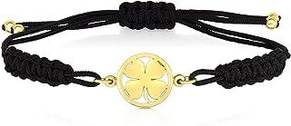 14k Yellow Gold Four Leaf Clover Black Macrame Bracelet, 8 Inches