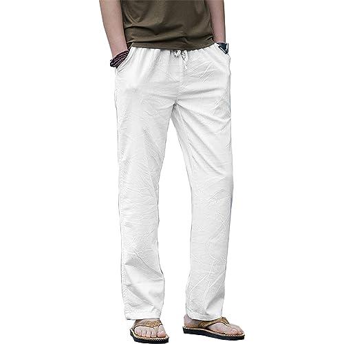 a1907e5efb Hoerev Men Casual Beach Trousers Linen Jean Jacket Summer Pants