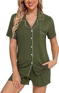 Sponsored Ad - Anjue Women Pajamas Set Short Sleeve Sleepwear Womens Button Down Nightwear PJ Set with Pockets S-XXL