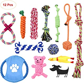 SITENG Dog Rope Toys for Aggressive Chewers - Washable Indestructible Cotton Dog Chew Toys for Puppy Small to Medium and Large Dogs - Chew Toys Set for Dog Tug of War & Teeth Cleaning