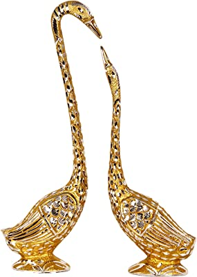 Handicrafts Paradise Pair of Kissing Swan/Duck Home Decor Showpiece in White Metal - 14.25 inch (Golden)