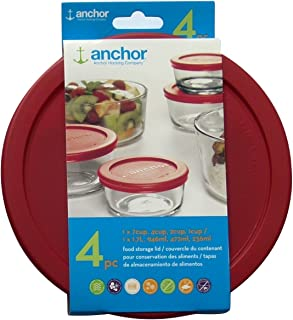Anchor Hocking Replacement Lids 1x7cup,1x4cup,1x2cup,1x1cup, red Round lid