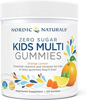 Nordic Naturals Zero Sugar Kids Multi Gummies, Orange Lemon - 120 Gummies - Great-Tasting Multivitamin for Ages 4+ - Suppo...
