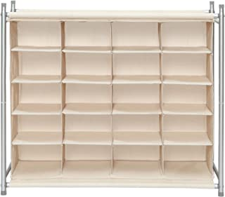 STORAGE MANIAC 20-Cube Stackable Shoe Cubby Organizer, Free Standing Shoe Cube Rack for Entryway, Bedroom, Apartment, Closet, Beige