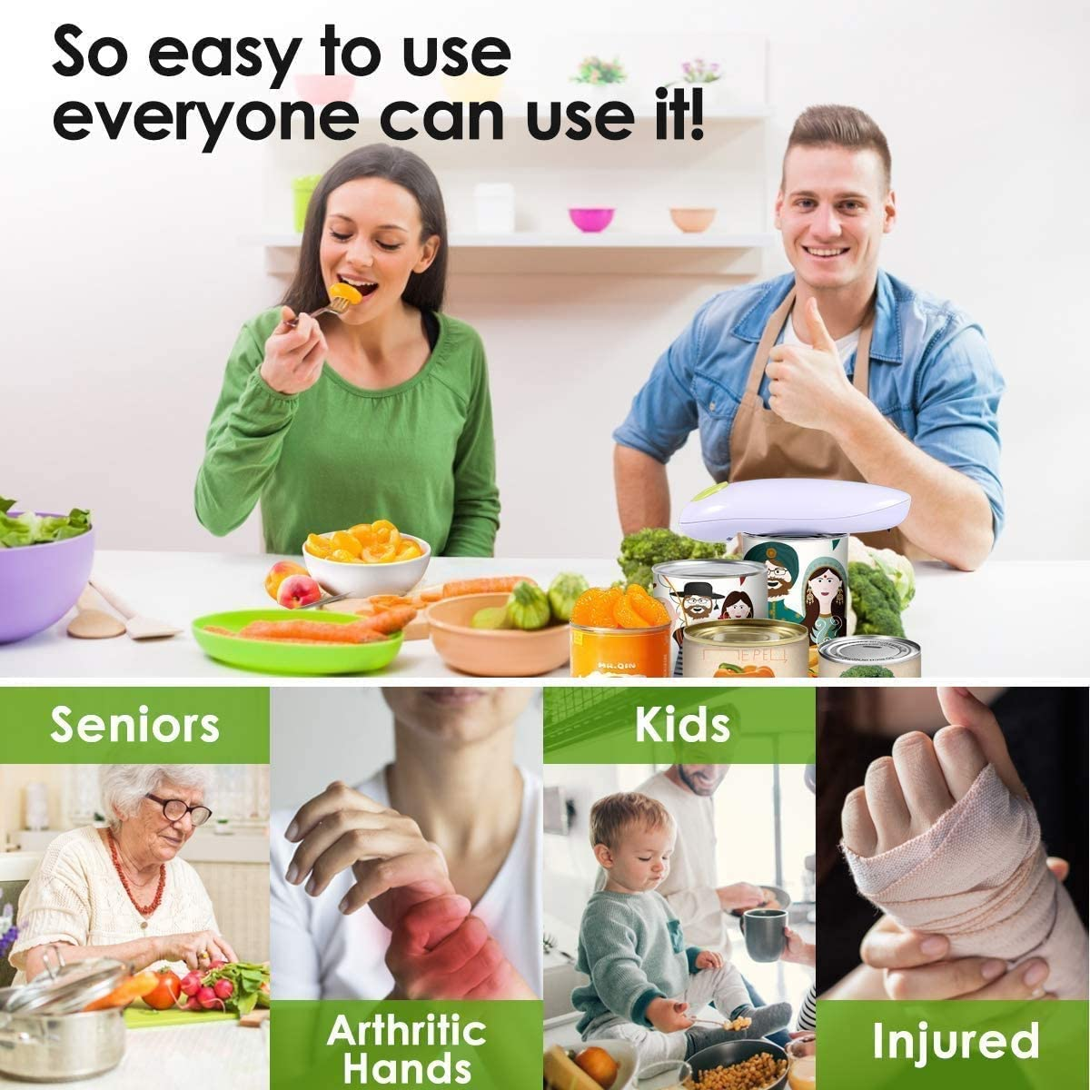 Hand Free Can Opener Can Openers for Arthritis and Senior Best Kitchen Gadget Electric Can Opener Restaurant Can Opener Automatic
