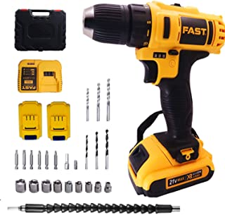 """Cordless Drill Driver Kit with 2 battery,21V Power Drill 32Nm 18+3 Clutch, 3/8"""" Keyless Chuck, Variable Speed & Built-in L..."""