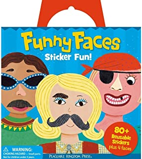 Peaceable Kingdom Sticker Fun Funny Faces Reusable Sticker Tote