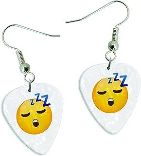Sleepy dormir Emoji blanco Pearl púa de guitarra juego de pendientes