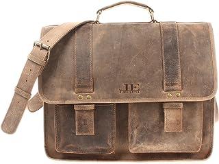 LECONI große Aktentasche Retro Look Collegetasche Unisex DIN A4 Arbeitstasche Damen & Herren Lehrertasche echtes Büffel-Leder Bürotasche Schultasche 39x30x12cm LE3030