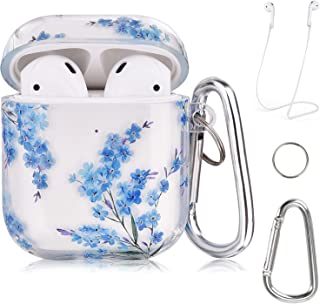 QINGQING Compatible with Airpods Case, Clear Blue Floral Design Case Cover Portable & Shockproof Women Men Girls with Keyc...