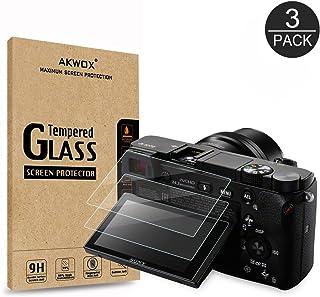 [3 Unidades] Protector de Pantalla para Sony DSLR Alpha A6000 A6300 A5000 NEX-3 NEX-5 NEX-6 NEX-7 Akwox [9H Dureza] Cristal Vidrio Templado Cristal Templado
