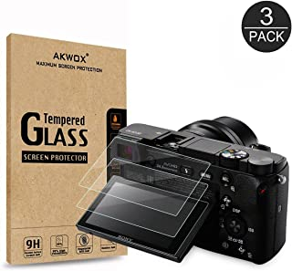 AKWOX (3-Pack) Screen Protector for Sony DSLR Alpha Nex-7 NEX-6 NEX-5 A6000 A6300 A5000 Camera, Anti-scrach Tempered Glass 9H Cover