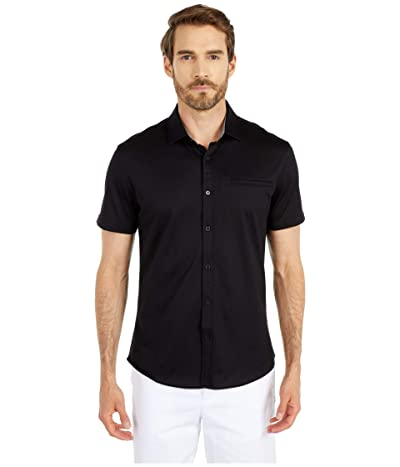 Vince Camuto Short Sleeve Sport Shirt with Hacking Pocket (Black Solid) Men
