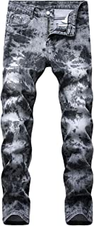YOUTHUP Mens Prints Jeans Straight Leg Stylish Denim Trousers Stretch Pattern Jeans Pants All Waist