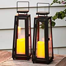 Decorative Solar Candle Lanterns - 11 Inch, Black Metal with Glass, Waterproof Flameless Pillar Candles, Dusk to Dawn Time...