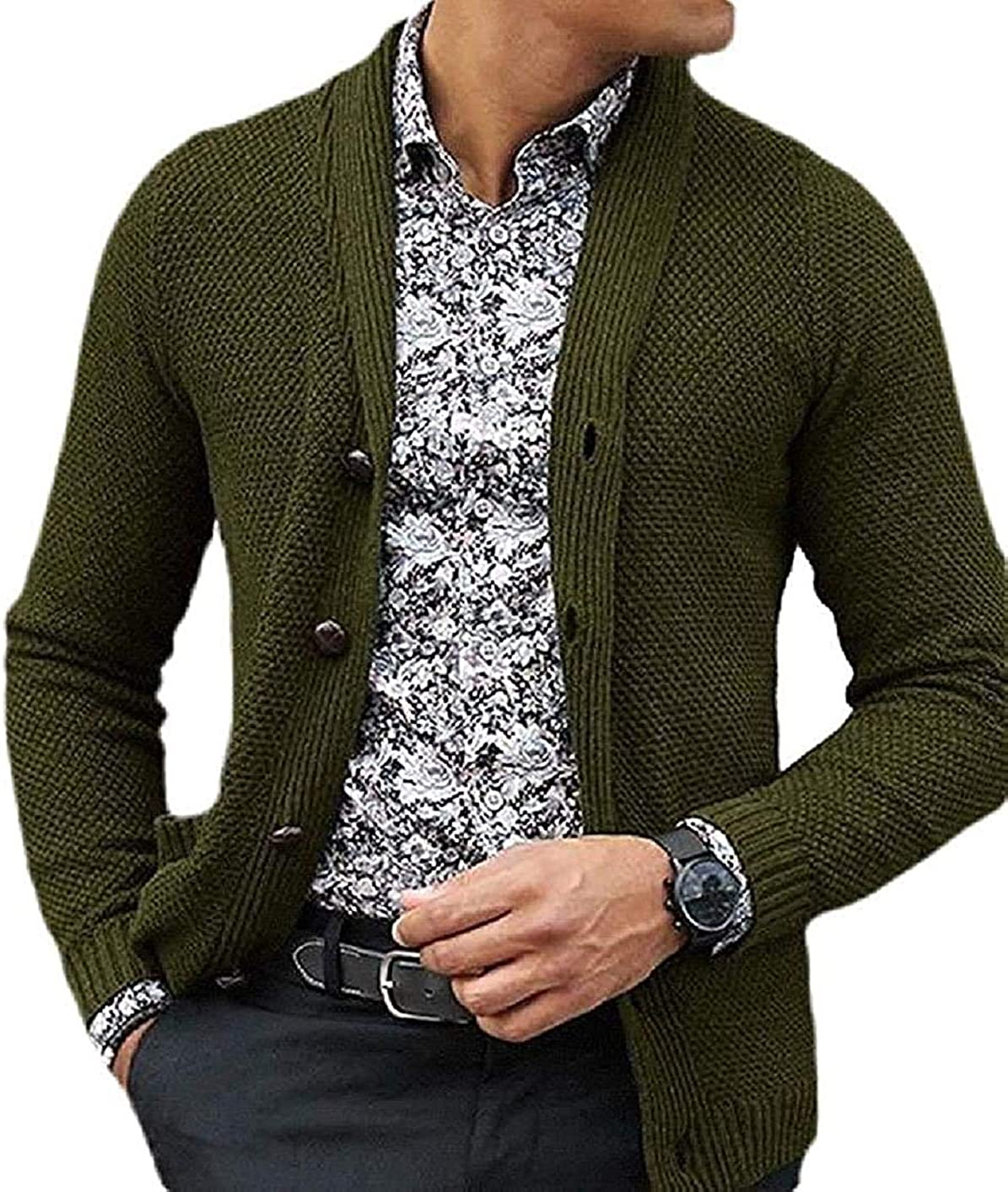 Mens Casual V-Neck Long Sleeve Button Down Cardigans