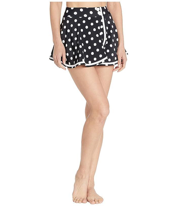 Unique Vintage High-Waist Miranda Swim Skirt (Black/White Dot) Women