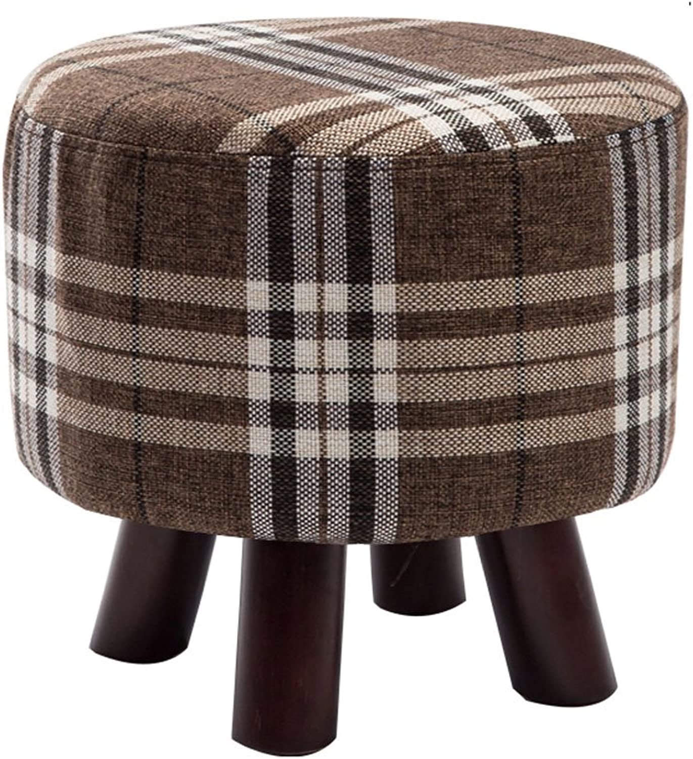 Stool Changing his shoes Stool Low Stool Solid Wood Footstool Small Bench Sofa Stool Round Stool Fashion Creative (color    2, Size   Large)