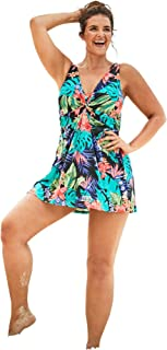 Swimsuits For All Women's Plus Size Twist-Front Swim Dress