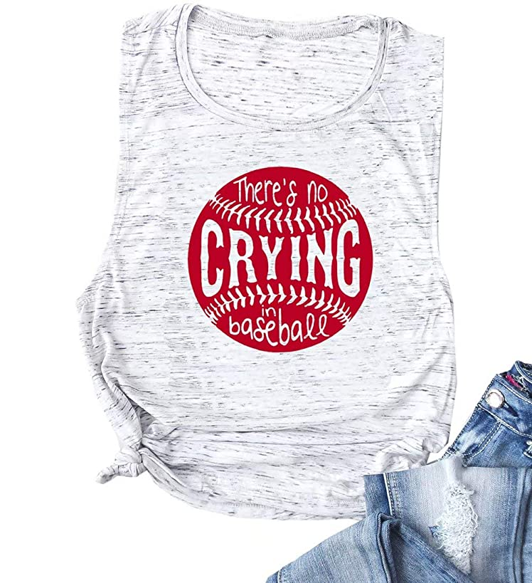 There's No Crying in Baseball Tank Top Women Letter Print Sleeveless Shirt Summer Funny Graphic Tee Casual Tops