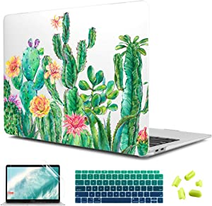 CiSoo Cactus Case for MacBook Air 13 Inch Case 2020 2019 2018 Release A2337 M1 A2179 A1932 , Matte Clear Hard Shell Case Frosted Cover with Keyboard Cover and Screen Protector for New Air 13