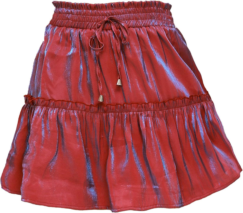 VBNG Women's Summer Drawstring High Waist Layer Ruffle Hem Short Mini A-line Skirt Beach Cute Skirt