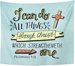 Emvency Tapestry Hand Lettering Can All Things Through Christ Cross Biblical Home Decor Wall Hanging for Living Room Bedroom Dorm 50x60 inches