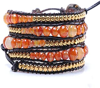 Brown Leather Long Wrap Bracelet Graduated Amber Color Goldtone Beads 34 inches 5 Wraps