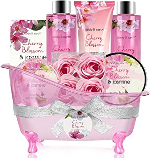 Bath Set for Women - Body&Earth 8 Pcs Gift Basket with Cherry Blossom & Jasmine Scent, Includes Bubble Bath, Shower Gel, Body & Hand Lotion, Bath Salts and More, Perfect Gifts Set for Home Relaxation