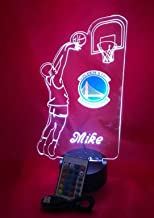 Beautiful Handmade Acrylic Personalized Warriors NBA Basketball Player Light Up Lamp LED with Remote, Our Newest Feature - It's Wow, with Remote, 16 Color Options, Dimmer, Free Engraving, Great Gift